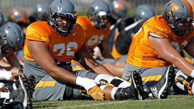 Tennessee offensive lineman Chance Hall (76) is seen during stretching as he prepares for Saturday's Florida game Tuesday, Sept. 20, 2016. (WADE PAYNE/SPECIAL TO THE NEWS SENTINEL)