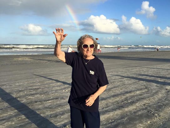 "Helen Louise Barnes Harney, mother of FLORIDA TODAY journalist Britt Kennerly, is pictured in 2014 at Cocoa Beach. Helen, who had vascular dementia, was featured in ""The Long Goodbye"" series in March. She died May 12."