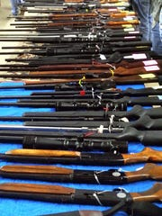These guns were for sale at the State Fair of Louisiana Boat, Sport & RV, Gun Show and Bass Tournament at Hirsch Coliseum in Shreveport on Jan. 18, 2014.