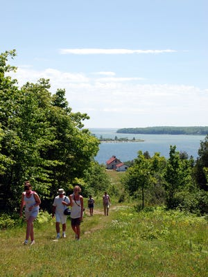 Hiking on Rock Island, one of the Grand Traverse Islands north of the Door County Peninsula.
