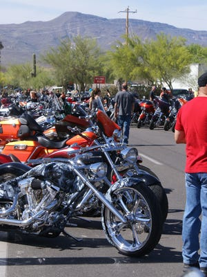 That's not thunder you're hearing, but the roar of hundreds of motorcycles rolling in for Biketoberfest in Cave Creek.
