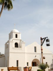 "The ""Old Adobe Mission,"" the original church of Our"
