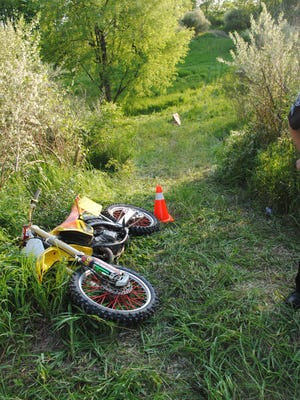 A man was critically injured when he was struck in the head by the tire of a motor-cross style dirt bike around 5:15 p.m. Saturday in the area of Doyle Road in Unadilla Township.