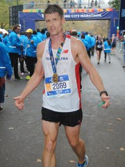 West Florida Tech cross country coach Jeff Oliver competes in the 2017 New York City Marathon on Nov. 5, 2017.