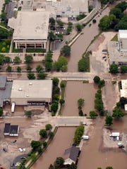 June 13, 2008: Aerial views of the flooding in Fond du Lac, Friday, June 13, 2008. The view includes the downtown area that surrounds the City County Government Center.