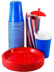 Mess kits, paper cups, plates, paper towels and plastic utensils.
