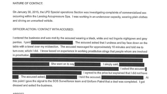 This screen grab of a Lansing Police Department report details a sting operation at a south Lansing spa, where police arrested two women on prostitution-related crimes in two months last year.