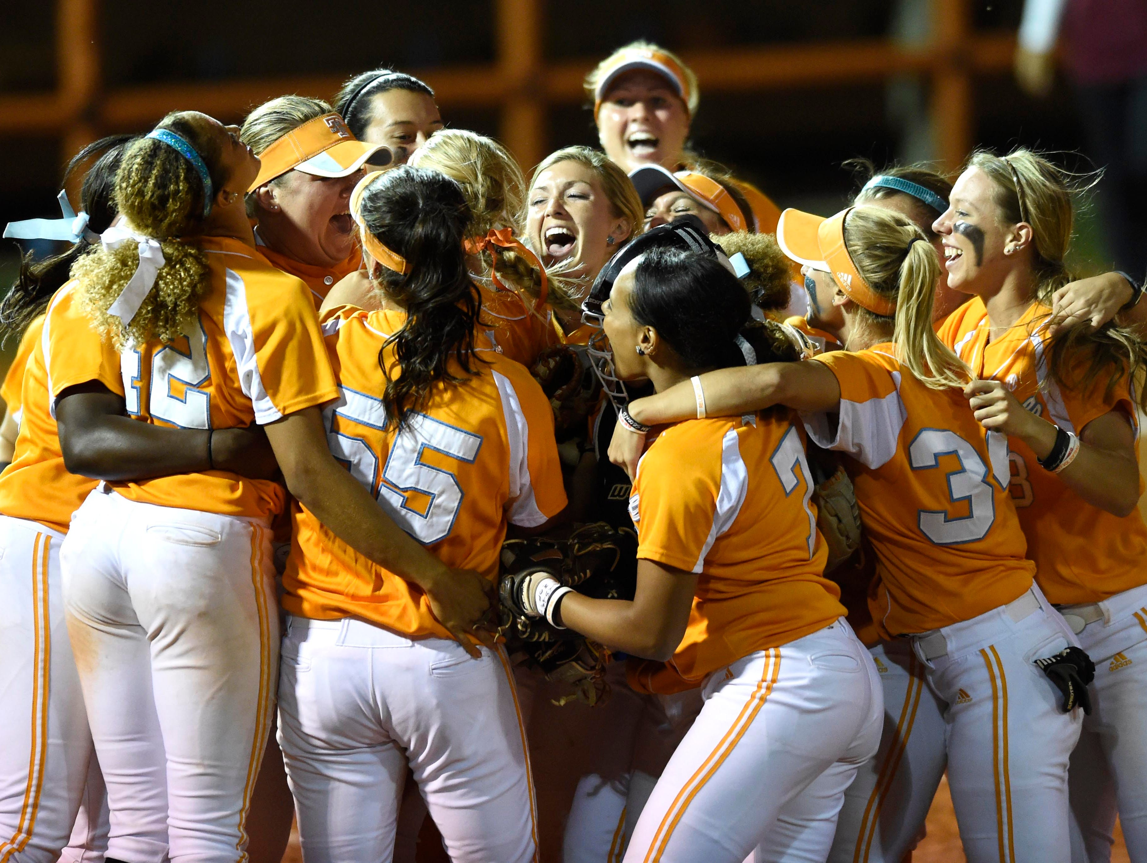 Tennessee celebrates after beating Florida State 2-1 in a super regional tiebreaker game.