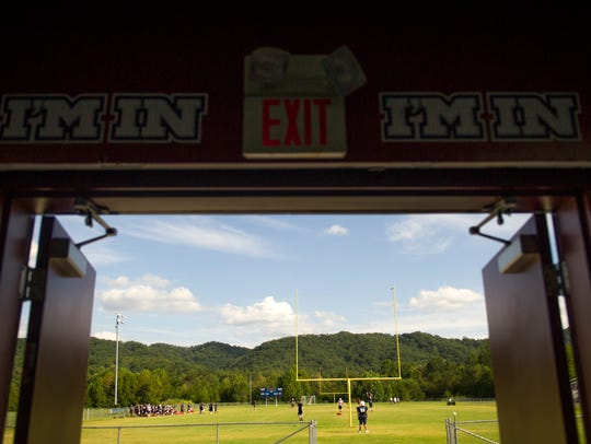 The Union County football team practices at Union County