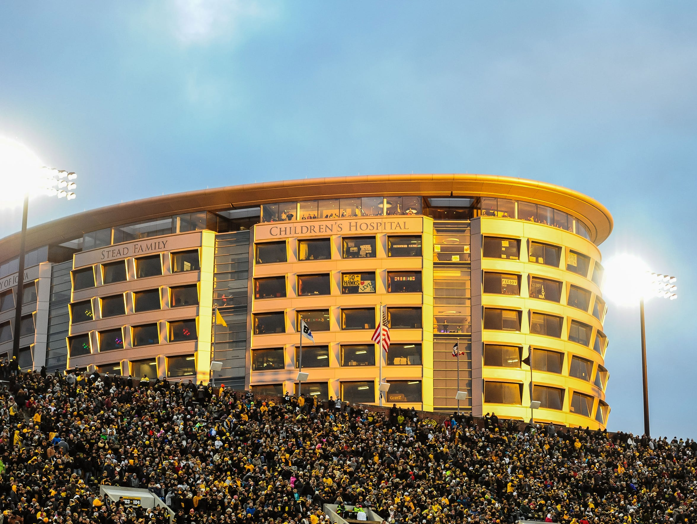 The Iowa Children's Hospital overlooks Kinnick Stadium