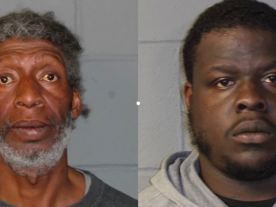 Robert J. Hawkins, left, and Derrick Bell, both of Beverly, face drug charges after a March 22 raid.