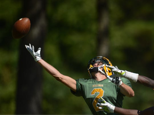 A pass falls just out of reach for Broadwater's Major Morgan (2) during the Vikings' game against Greenbrier Christian on Saturday, Sept. 19, 2015 in Exmore. Greenbrier Christian won the game 63-40.