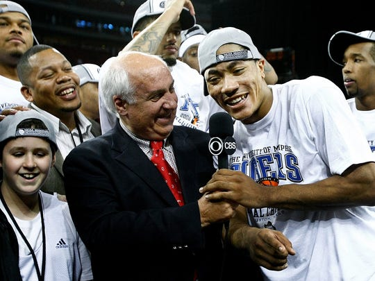 March 30, 2008 - Memphis' Derrick Rose, right, enjoiy's the moment after being named South Region MVP while being interview by Billy Packard of CBS.
