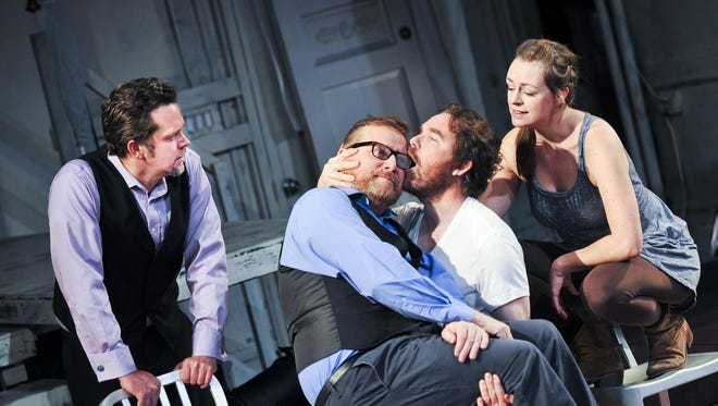 """Tom O'Keefe (left to right), Edmund Lewis, Eric Tucker and Andrus Nicholas in """"Hamlet."""""""