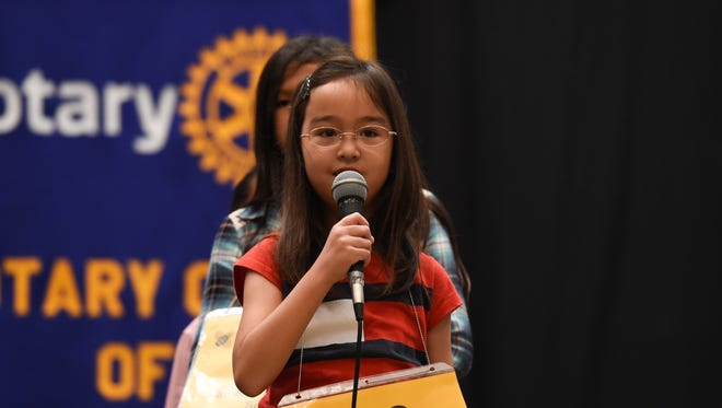 St. John's School fourth grader Rina Olsen competes during the 45th Annual Scripps Regional Spelling Bee Competition at Sheraton Laguna Guam Resort in Tamuning on Mar. 4, 2017.