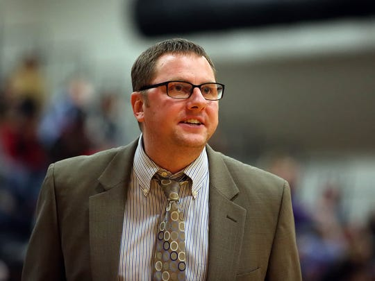 Cedar Crest head boys basketball coach Tommy Smith, on the sidelines against McCaskey during first half action of an LL section 1 showdown at McCaskey High School Friday December 18, 2015. (Photo/Chris Knight)