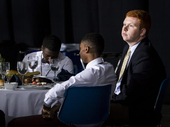 Creston Campbell, manager for the Mount Pleasant boys' basketball team, listens as his team is announced as the team of the year at the Delaware Sports Awards banquet at the Bob Carpenter Center at the University of Delaware in Newark on Wednesday evening.