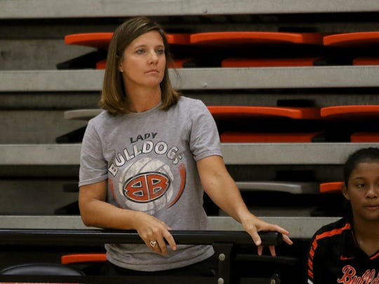 Burkburnett head coach Keri Cely watches her team from the sideline in their match against Pampa Saturday, Aug. 12, 2017, at the Cool in Boomtown tounament in Burkburnett.