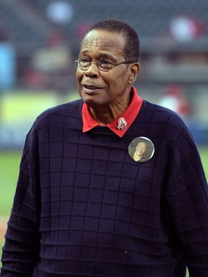 Rod Carew attends a game between the Athletics and the Angels.