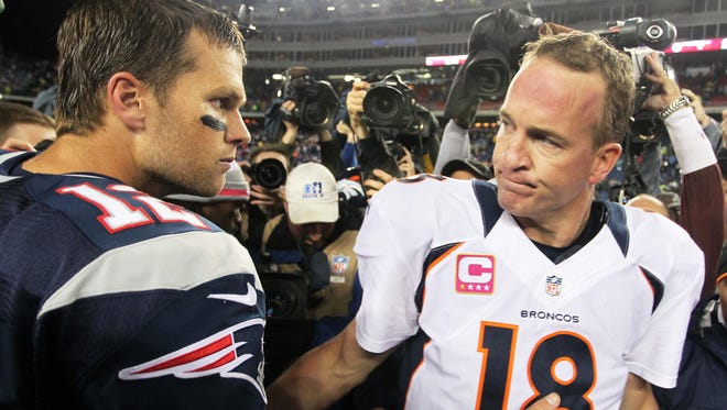 Tom Brady, left, and Peyton Manning will match up for the 16th time Sunday.