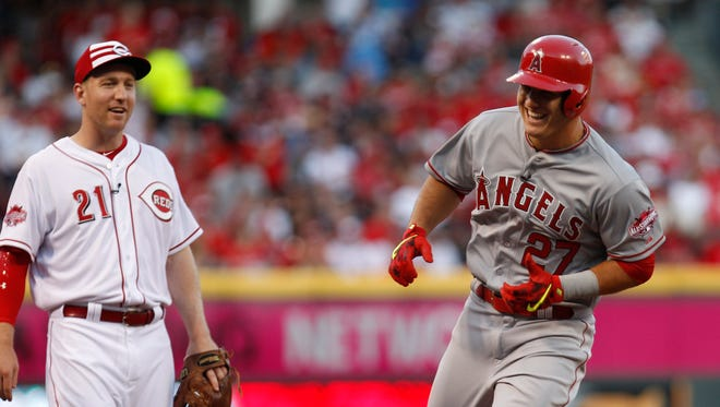 Todd Frazier of the Cincinnati Reds reacts after Mike Trout of the Los Angeles Angels hits a lead-off home run in the first inning of the 2015 MLB All Star Game.