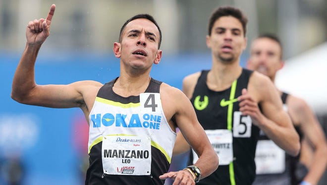 Leo Manzano won the Men's special 1 Mile Run Sat. April 25, 2015 at the Drake Relays in Des Moines, Iowa.