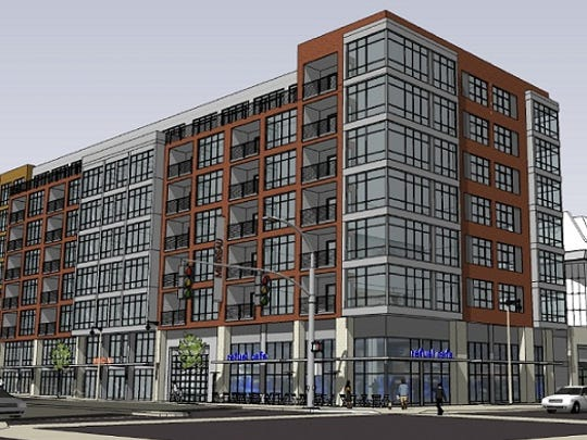 A multistory apartment building, to be called Metreau is planned for the northwest corner of Walnut and Washington streets.