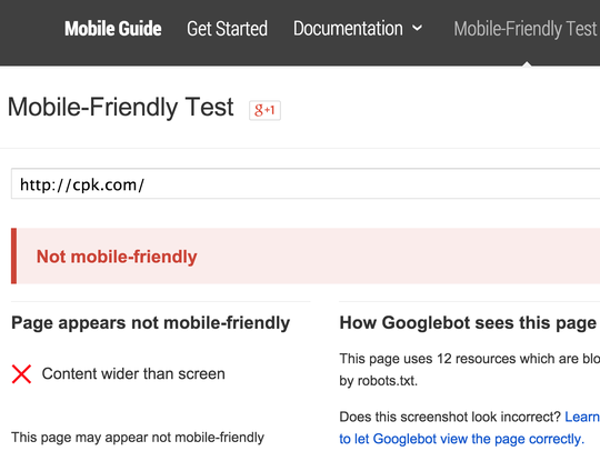 California Pizza Kitchen fails the Google Mobile-Friendly