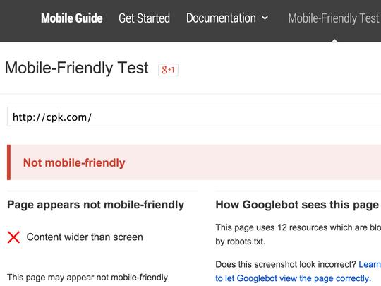 California Pizza Kitchen fails the Google Mobile-Friendly