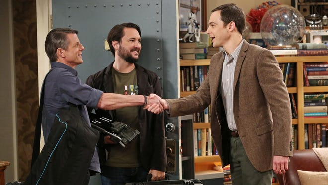 On the 'Big Bang Theory,' guest stars Adam Nimoy, left, and Wil Wheaton meet with Sheldon (Jim Parsons) to discuss Spock from 'Star Trek.'