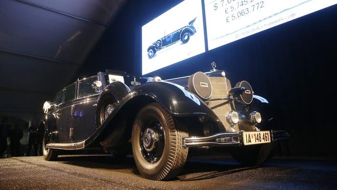 Adolf Hitler's wartime Mercedes, a Mercedes-Benz 770 Grosser Offener Tourenwagen, was on the auction block Jan. 17, 2018, in Scottsdale. The highest bid was $7 million but it did not meet the seller's reserve.