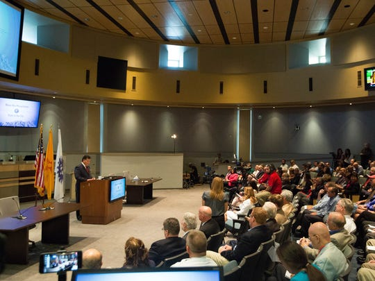 Ken Miyagishima, mayor of Las Cruces, gives his state of the city address Wednesday March 28, 2018 at Las Cruces City Hall.
