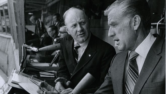Merle Harmon (right) and Tom Collins were part of the first Milwaukee Brewers' broadcasting team in 1970.