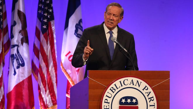 Former New York Gov. George Pataki speaks May 16 during the Lincoln Dinner in Des Moines.
