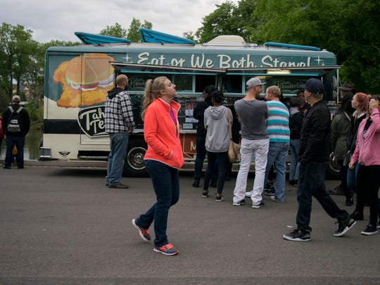 Not even the rain could stop these Reno locals from the first Food Truck Friday of 2018 on Friday, May 18. Reno, NV.