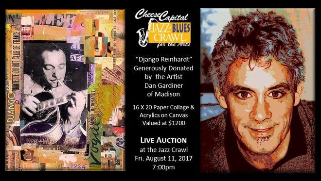 Dan Gardiner's 16 X 20 original painting (paper collage & acrylics on canvas) is entitled Django Reinhardt.