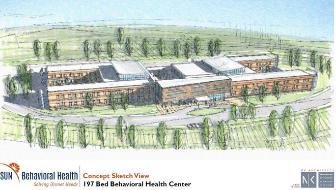 A sketch of a yet-to-be-named hospital that will be co-owned by St. Elizabeth and SUN Behavioral Health.