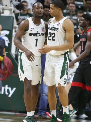 Michigan State guards Joshua Langford and Miles Bridges after the 76-72 overtime win against Rutgers Wednesday, January 10, 2018 at the Breslin Center in East Lansing.