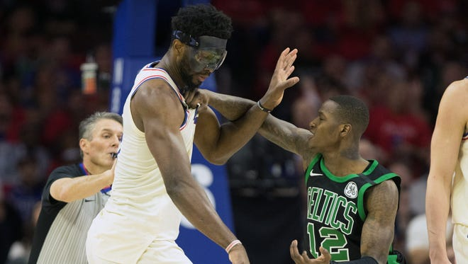 Philadelphia 76ers center Joel Embiid and Boston Celtics guard Terry Rozier get into an altercation during the second quarter of Game 4.