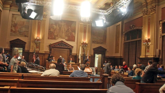 """The council chambers at Yonkers City Hall is transformed back to the 1980's for the filming of the upcoming HBO series """"Show Me A Hero,"""" at Yonkers City Hall Nov. 13, 2014. The series is based on a book about the Yonkers desegregation battle of the 1980s."""