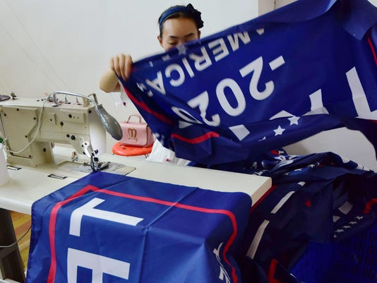 553bf020 'Trump 2020' banners made in China during 'Made in America' week