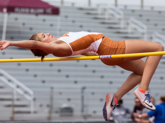 Alice's Criselda Cruz competes in the girls high jump during the 29-5A/30-5A area meet at Cabaniss Multipurpose Complex on Thursday April 20, 2017.