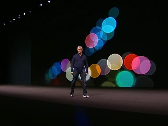 Tim Cook takes the stage at the Apple Event on Sept. 7, 2016.