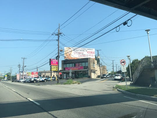 A billboard advertising Stormy Daniels' appearance at Lace was seen over Pleasure Plus on Route 46 in Lodi.