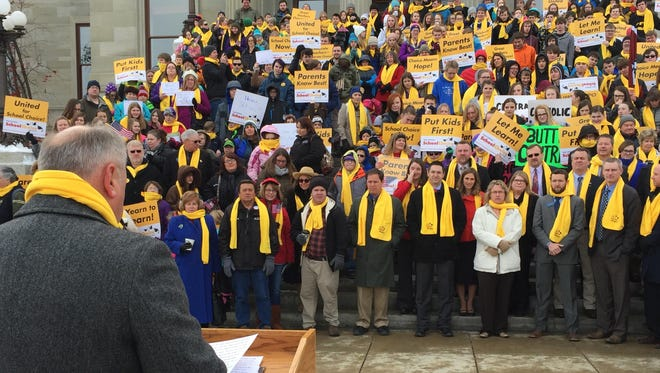 Jeff Laszloffy, president/CEO of the Montana Family Foundation, speaks Wednesday at the Rally for School Choice held on the steps of the Capitol.