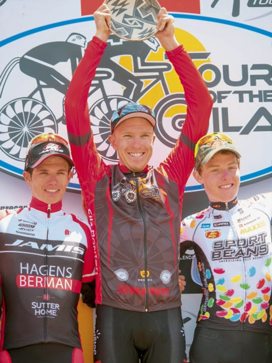 Courtesy Photo   Rob Britton of Team Smartstop surged to the Tour of the Gila overall champion in the final stage Sunday. Daniel Jaramillo, left, was second, while Gavin Mannion was third.