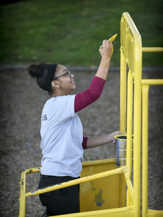 Progressive Park in Lebanon gets a makeover thanks to a donation from Paul Davis, a Lancaster restoration company, and Playground Pick Up volunteers including Elizabeth Rosa of Lancaster.