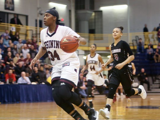 Ossining's Kailah Harris (34) drives up the court n