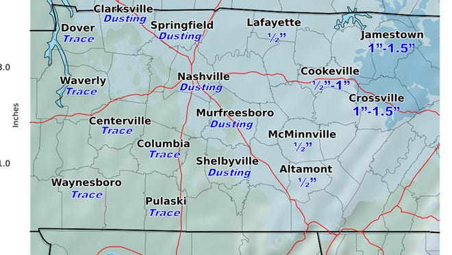 Snow predictions for Sunday, Jan. 29, 2017 in Middle Tennessee.