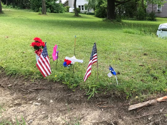 A memorial for Edson L. Kitchen and his wife Mary L. Kitchen, who were killed in a June 12, 2018 crash in Colesville.